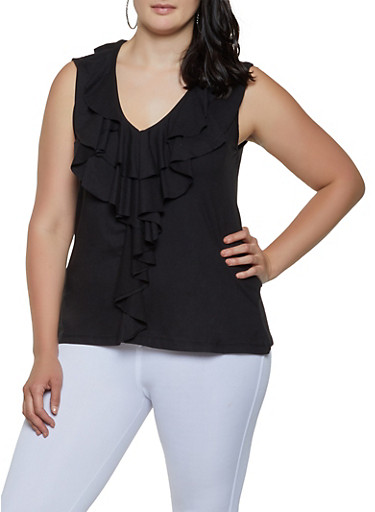 Plus Size Ruffled Sleeveless Top,BLACK,large