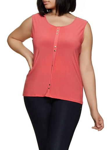 Plus Size Sleeveless Studded Detail Top,CORAL,large