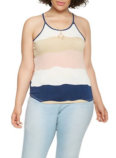 Plus Size Striped Tank Top with Necklace,NAVY,large