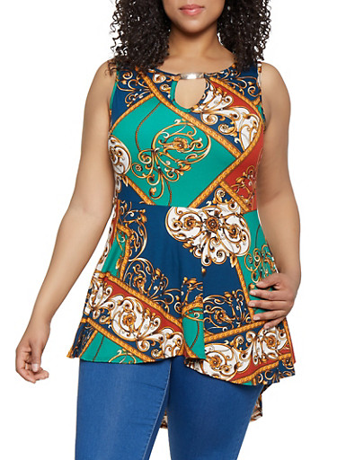 Plus Size Printed Keyhole Peplum Top,TEAL,large