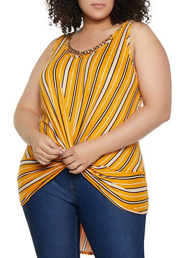 Plus Size Chain Neck Detail High Low Top,MUSTARD,large