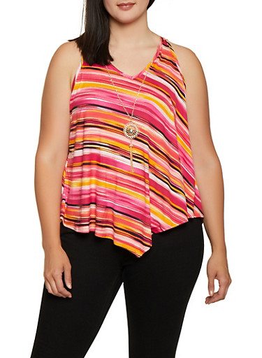 Plus Size Striped Asymmetrical Hem Top with Necklace,RED,large