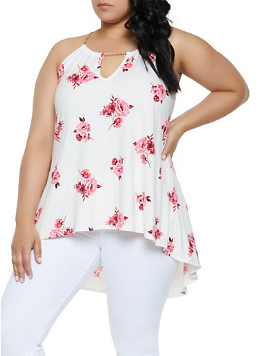 Plus Size Floral Chain Strap High Low Top,IVORY,large