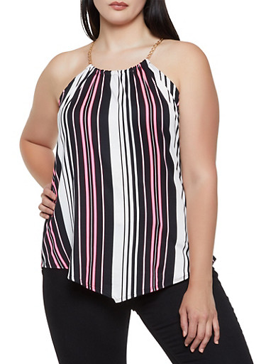 Plus Size Chain Strap Striped Top,NEON PINK,large