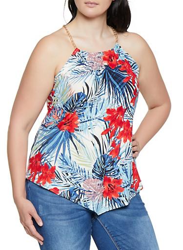 Plus Size Floral Leaf Print Soft Knit Top,IVORY,large