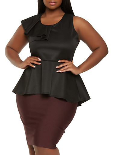 Plus Size Ruffled Peplum Top,BLACK,large