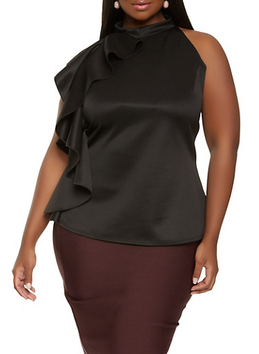 Plus Size Ruffle Side Top,BLACK,large