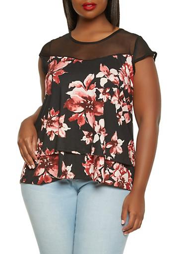 Plus Size Mesh Yoke Printed Top,BLACK,large