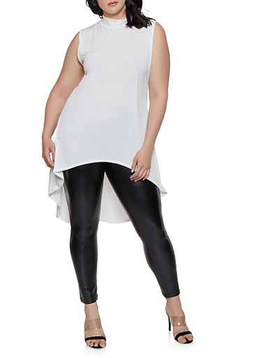 Plus Size Sleeveless High Low Top,IVORY,large