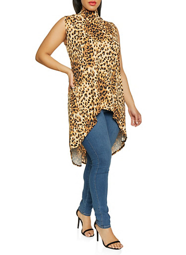Plus Size High Low Leopard Print Top,BROWN,large