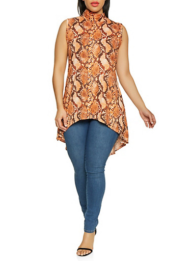 Plus Size High Low Snake Print Top,BROWN,large