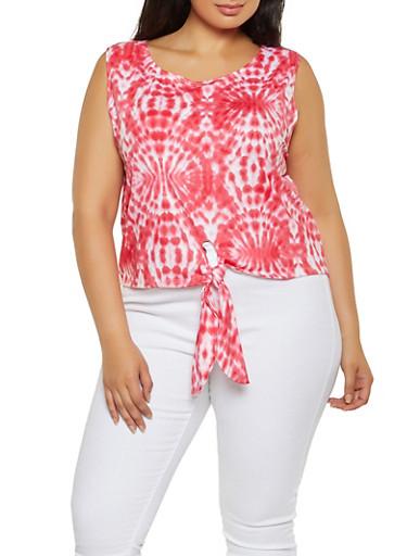 Plus Size Tie Dye Soft Knit Top,NEON PINK,large