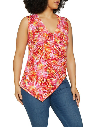 Plus Size Leaf Print Asymmetrical Faux Wrap Top,RED,large