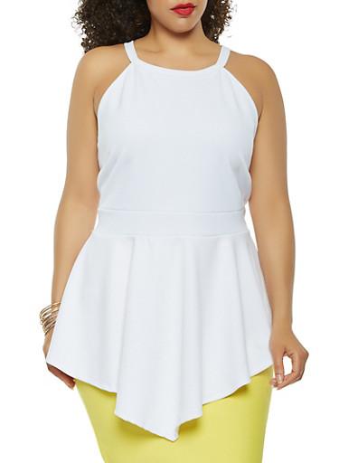 Plus Size Scuba Knit Peplum Top,WHITE,large