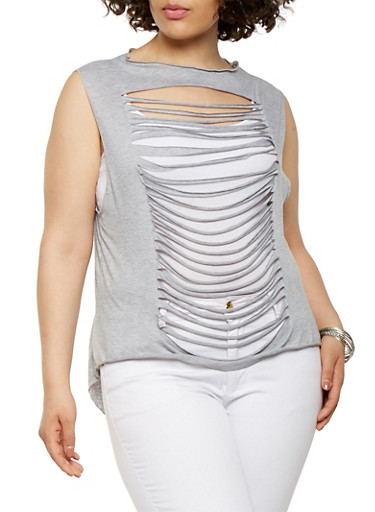 Plus Size Slashed High Low Top,GRAY,large