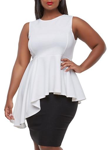 Plus Size Asymmetrical Peplum Top,WHITE,large