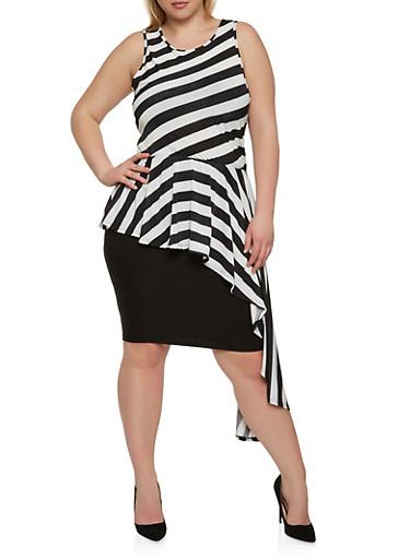 Plus Size Asymmetrical Hem Top,BLACK/WHITE,large