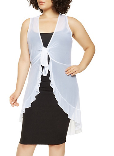 Plus Size Ruffled Mesh Maxi Top,WHITE,large