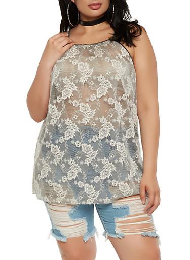 Plus Size Floral Lace Cami,MOCHA,large