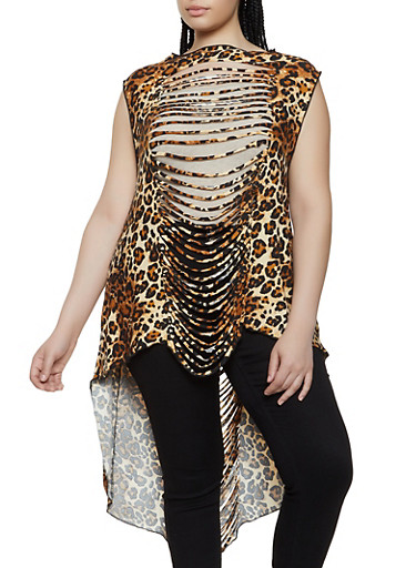 Plus Size Leopard High Low Peplum Top,BROWN,large