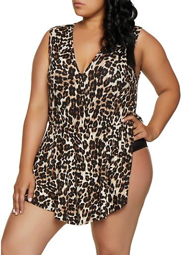 Plus Size Faux Wrap Cheetah Overlay Bodysuit,BROWN,large