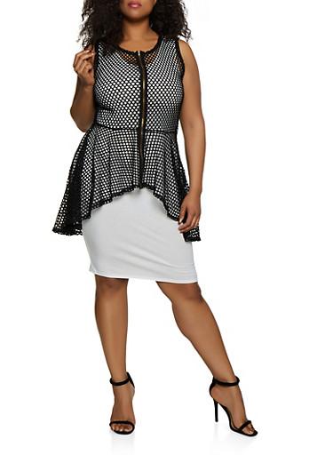 Plus Size Zip Front High Low Fishnet Top,BLACK,large