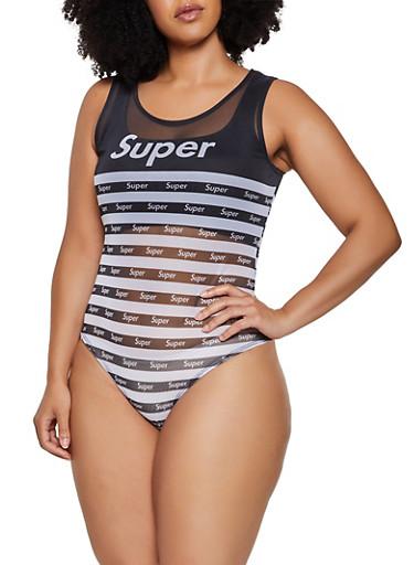 Plus Size Super Striped Mesh Thong Bodysuit,BLACK,large