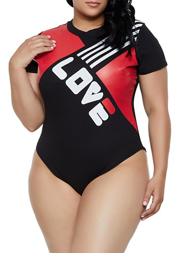 Plus Size Love T Shirt Bodysuit,BLACK,large