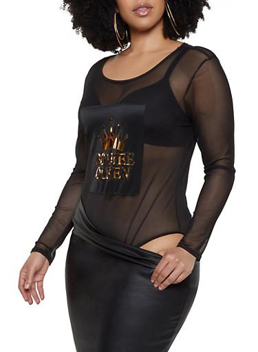 Plus Size Boujee Queen 3D Patch Mesh Bodysuit,BLACK,large