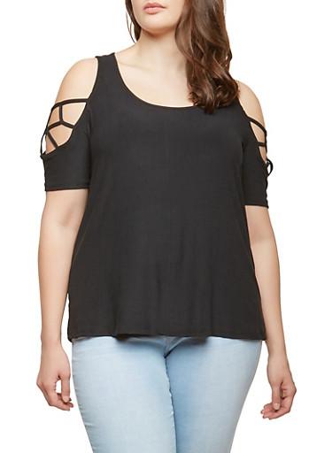 Plus Size Caged Cold Shoulder Top,BLACK,large