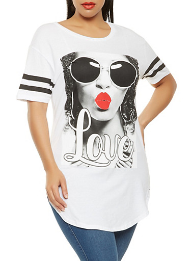 Plus Size Love Graphic Tunic Tee,WHITE,large