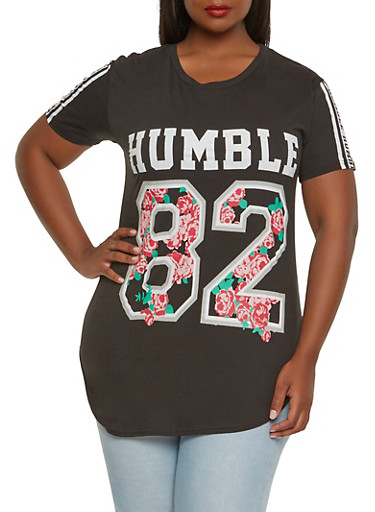 Plus Size Humble Graphic Tee,BLACK,large