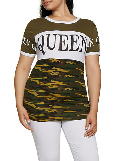 Plus Size Queen Camo Color Block Tee,OLIVE,large