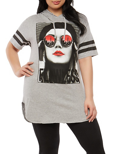 Plus Size Flawless Graphic Hooded T Shirt,GRAY,large