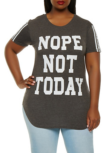 Plus Size Nope Not Today Graphic Tee,CHARCOAL,large