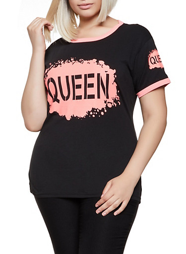 Plus Size Queen Ringer Tee,BLACK,large