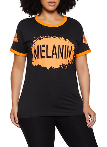 Plus Size Melanin Contrast Trim Tee,BLACK,large