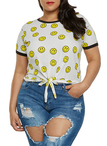 Plus Size Smiley Face Tie Front Tee,WHITE,large