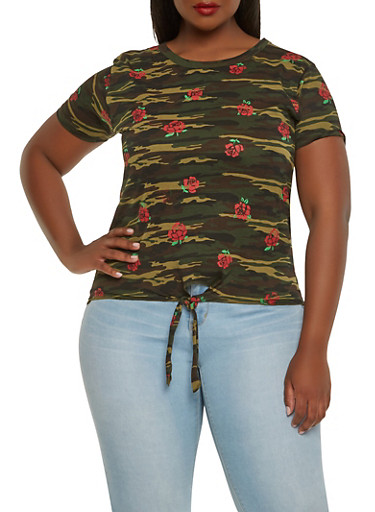 Plus Size Floral Print Camo Tee,CAMOUFLAGE,large