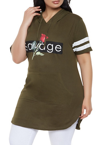 Plus Size Savage Graphic Hooded Tunic Tee,OLIVE,large