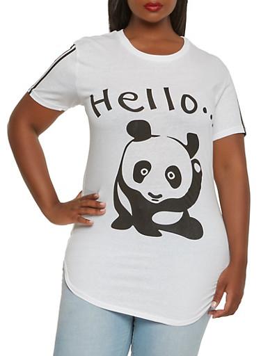 Plus Size Panda Graphic Tee,WHITE,large