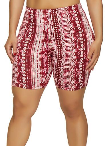 Plus Size Tie Dye Bike Shorts,RED,large