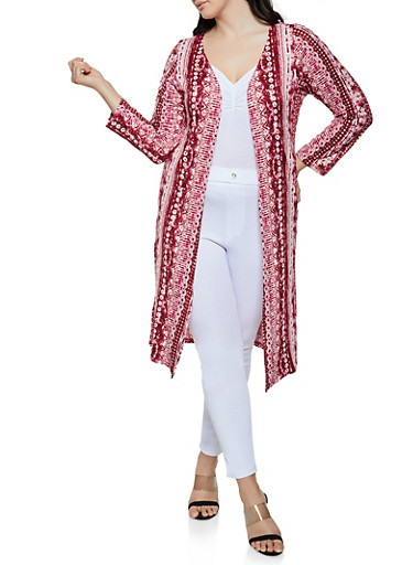 Plus Size Soft Knit Printed Duster,RED,large