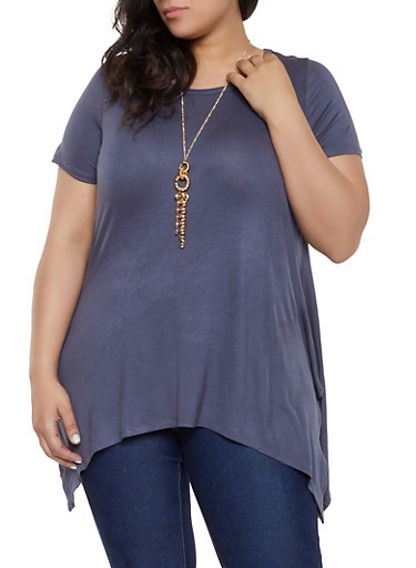 Plus Size Asymmetrical Tee with Necklace | 0912038348049,CHARCOAL,large
