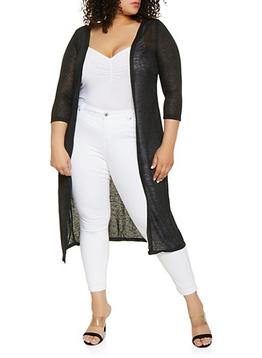 Plus Size Solid Duster,BLACK,large