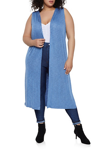 Plus Size Rib Knit Hooded Duster,BLUE,large