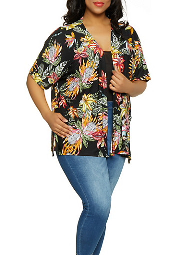 Plus Size Printed Open Front Cardigan,BLACK,large
