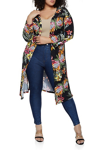 Plus Size Knit Printed Duster,BLACK,large