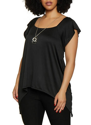 Plus Size Sharkbite Hem Top with Necklace,BLACK,large