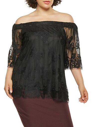 Plus Size Lace Off the Shoulder Top,BLACK,large